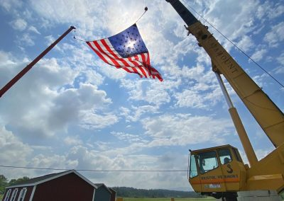 US Flag suspended by two 10ft cranes